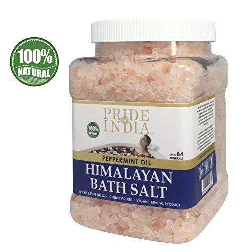 Pride Of India Himalaja rosa Badesalz angereicherte w/Pfefferminzöl und 84+ natürliche Gesteinsmehle, 2,5 Pfund (40 Unzen) jar -