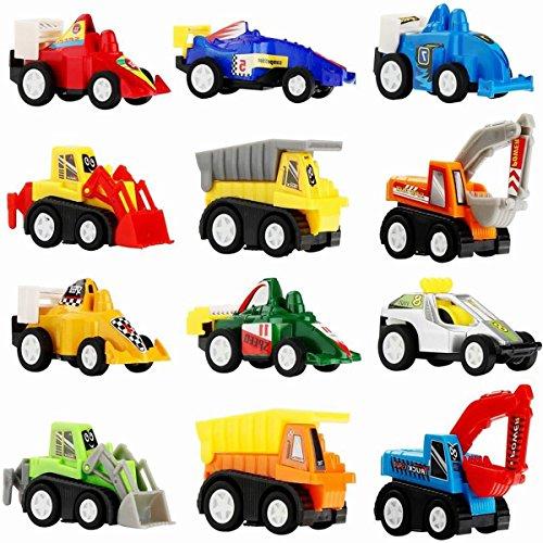 DMbaby Juguetes para niños de 2 a 6 años, coches de extracción 12 piezas Juguetes Coches Juego de niños para niños Regalos para niños de 2 a 6 años PULL12