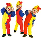 GIFT TOWER 3er Clown Kostüm Kind Halloween Faschingkostüme Kinder Jungen Cosplay Mädchen Karnevalskostüm Jumpsuit Zirkus kostüm kinder Mehrfarbig S/Länge 90cm