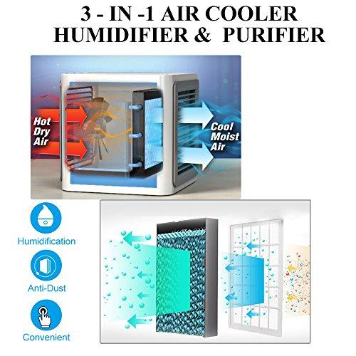 SUNMAY Aire Acondicionado Móvil 3 en 1 Mini Ventilador Humidificador Purificador de Aire Personal USB Climatizador Portátil para Dormitorio/Oficina