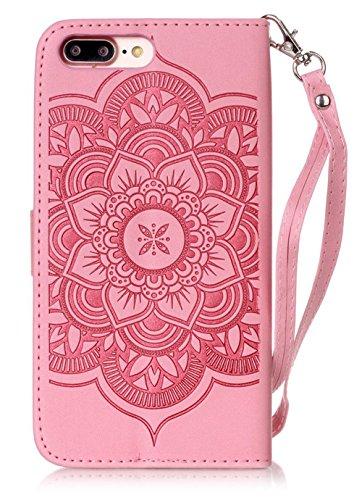 Nnopbeclik Coque Iphone 7 Plus Apple [Neuf] Mode Fine Folio Wallet/Portefeuille en Bonne Qualité PU Cuir Housse pour Iphone 7 Plus Coque Cuir [Antichoc] (5.5 Pouce) Wind Chime Style de Gaufrage Motif  pink