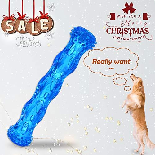 ZNOKA Juguete masticar para perros, goma rígida, no tóxico, juguete de limpieza de dientes, grande, azul