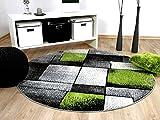 Designer Teppich Brilliant Grau Grün Fantasy Rund in 3 Größen