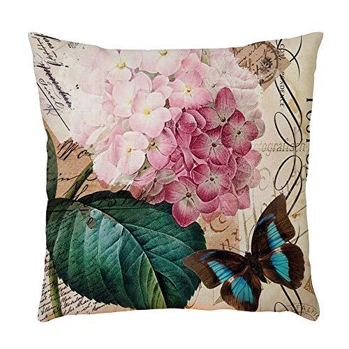 Vovotrade Dekorative Vintage Blumen Sofa Kissenbezug Dekokissen Bezug Kopfkissenhülle Geschenk Haus Dekoration Zierkissenbezüge weich Quadrat Sofa Kissen (Vintage Dekokissen)