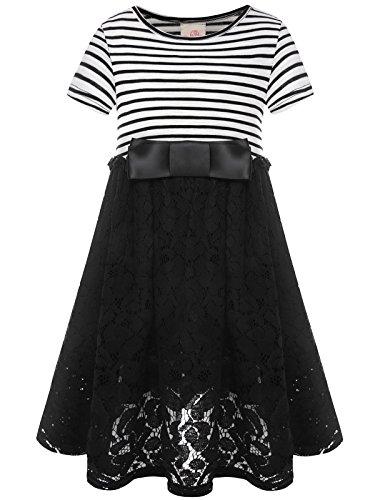 Bonny Billy Mädchen Kleider Sommer Kurzarm Baumwolle Spitzenkleid Freizeitkleid mit Satin Bogen 5-6 Jahre/110-116 Streifen