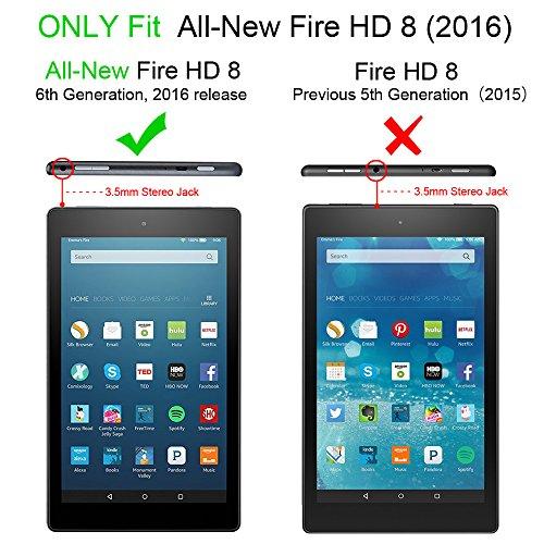 Fintie Fire HD 8 Coque Étui Housse - Ultra Slim étui Housse Coque avec Support Ultra-Mince et Léger avec mise en veille automatique pour Toute nouvelle tablette Fire HD 8 (6ème Génération, 2016), Noir Violeta