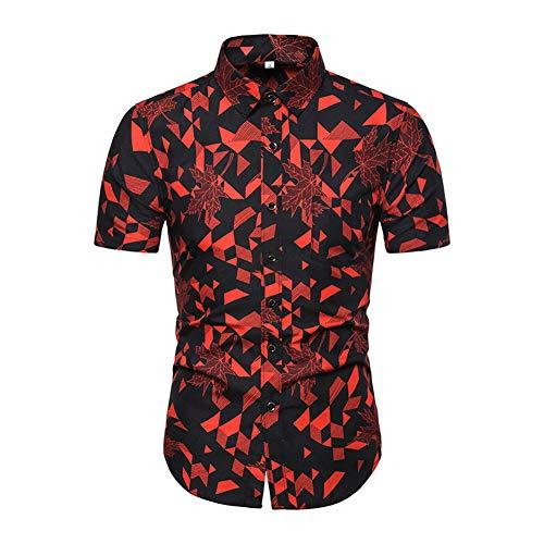 Drucken Regular Fit Hemd (WODENINEK Hemd Der Männer Kurze Ärmel Lässig Persönlichkeit Muster Drucken Urlaub Party Groß M-5Xl,Red,M)