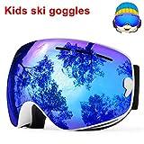 TUONROAD Skibrille Kinder Blau Skibrille Snowboard Motorradbrillen Wintersport Skibrille Und UV Schutz Snowboardbrille Skibrille Kinder Verspiegelt Dual Linse Für Junior Jungen Mädchen Baby Teenager