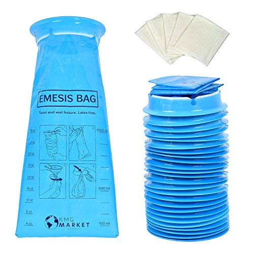 KMG Market KMG Market 25 Pack Strong Vomit Bags | Barf Bags | Emesis Bags Disposable | Vomiting Bags for Car, Kids, Uber, Lyft, Travel | Bonus 5 Wet Wipes