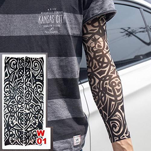 tzxdbh 3 Stücke-Heiße Neue Tattoo Hülse Elastische Nylon Arm Socken Schwarz Braun Tribal Design Blume Arm Männer und Frauen 3 Stücke- -