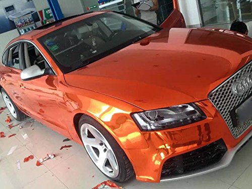 Preisvergleich Produktbild STRETCHABLE Chrom ORANGE für 3D Verklebung Car Wrapping, Spiegelfolie, Chromfolie 0,5m x 1,52m