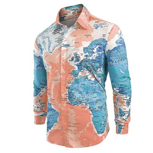 HHyyq Unisex 3D Neuheit T-Shirt Herren Revers Shirt Lustiges T-Shirt Map Printing Rundhals Langarm Sommer Shirt T-Shirt (Dunkelblau, XXL)
