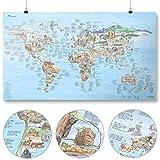 Awesome Maps - Climbing Map - Illustrierte Weltkarte für Kletterfans - Wiederbeschreibbar - 97,5 x 56 cm