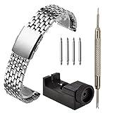 JSDDE Uhrenarmband massiv Edelstahl Klassisch Links Strap mit Faltschließe Metallarmband Federstegwerkzeug Reparatur,20mm