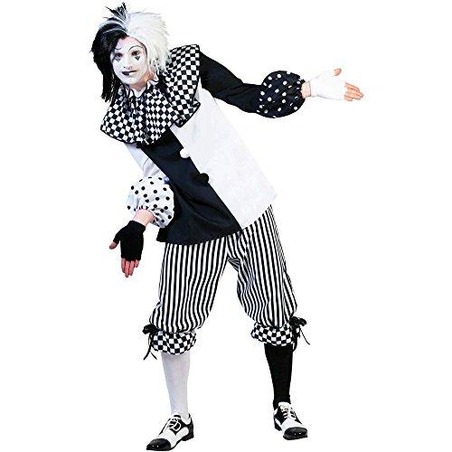 Pierro´s Kostüm Harlekin Herr Clown Herrenkostüm Oberteil Hose Größe 48 50 52 54 56 58 für Karneval, Fasching, Halloween, Motto Party / Clowns, Zirkus