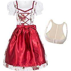 Dirndl Set 4tlg. Trachtenkleid ROSI weiß mit Rosendruck in rot + Push Up Büstenhebe BH 46 XL