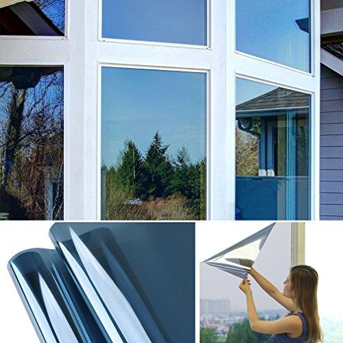 Hans-Shop 75cm x 300cm Transparent-blau Sonnenschutzfolie für Fenster Sichtschutz und Hitzeschutz blockt 99% der UV-Strahlen Fensterfolie Spiegelfolie
