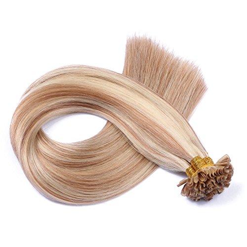 Keratin Bonding Hair Extensions 100% Remy Echthaar Haarverlängerung (#12/613 GESTRÄHNT - 50 Strähnen 1 g - 50 cm) U-Tip Extention Remy Qualität by Haar-Profi