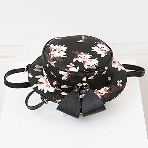 Borse a Tracolla Sacchetto Donna, Borse di Stile Cappello Rotondo Borse a Mano Elegante Zaino Stampato 6