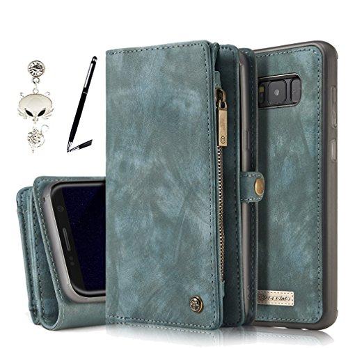 A9H Samsung Galaxy S8(5,8 Zoll) Multifunktions Hochwertigen PU Leder Handy Tasche mit Schutzhülle Handyhülle hülle und Geldbörse 2 in 1,Grün (Leder-geldbörse Grün)