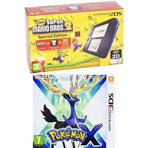 Nintendo 2DS - Consola, Color Azul + New Super Mario Bros 2 (Preinstalado) + Pokémon X