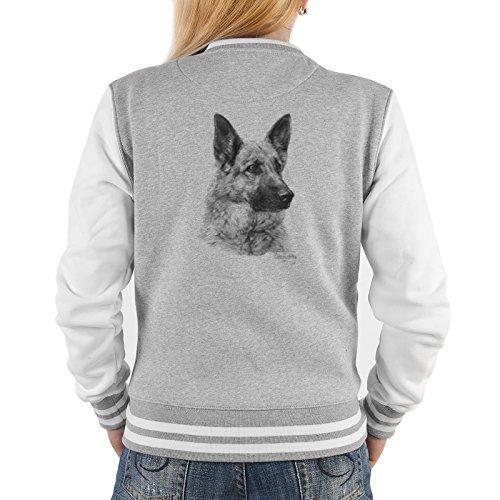Lady Jacke ::: Deutscher Schäferhund ::: mit USA Motiv auf der Rückseite Grau
