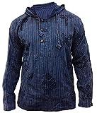 SHOPOHOLIC FASHION Herren Stonewashed Gestreift Mit kapuze Hippy Großvater Shirt - Blau, Large