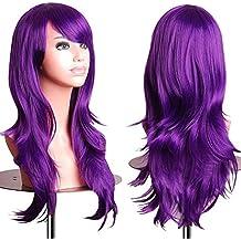S de noilite® 58cm peluca Mujer Gel ockt Ondulado rizos pelo largo completo pelucas Anime Cosplay Pelo Artificial Wig–Lila