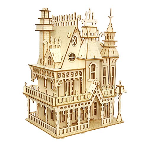 XULONG Dream Villa Model Kit 3D Puzzle Jigsaw Wooden Models Building Blocks Craft Kits for Kids Alter 6 + (Für Model Building Kids Kits)
