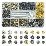 BrilliantDay 120pcs Bottoni in Metallo, cap Rivetti Metallici Bottoni a Scatto, 4pcs Strumento di Installazione, Bottoni per Cucito e Artigianato, per Cuoio Fai da Te, Zaino, Cappello