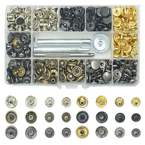 BrilliantDay 120 Set Rivets en Cuir Rivet à Double Bouchon Goujons Tubulaires en Métal avec 4 Pièces Outil de Fixation pour Cuir Craft réparation de décoration