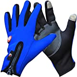 #8: AutoSun Windproof Touchsreen Warm Gloves Riding Motorcycle,Car,Bicycle Gloves Touch Screen (M, Blue)