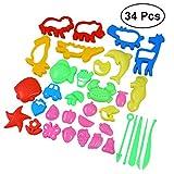 TOYMYTOY 34 Pcs Emporte-pièces Moules Kit pour Argile Pâte à Modeler Les Enfants Coupeurs de Biscuits Jouets