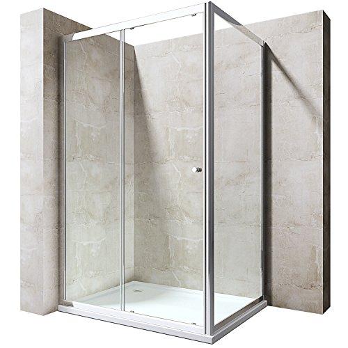 Duschabtrennung 75x100 Schiebetür Duschwand Für Eck-Montage Duschkabine 6mm ESG Seiteneinstieg Ravenna12