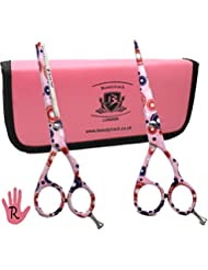 BeautyTrack Hairdressing Barber Salon Scissors, Thinning Scissors - Set of Hair Scissors - Razor Edge Barber Scissors Set of 5.5 inches comes in a beautiful Pink Presentation Case