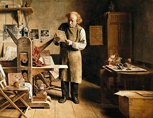 "Alu-Dibond-Bild 130 x 100 cm: ""The Printer, 1875 (oil on canvas)"", Bild auf Alu-Dibond"
