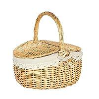 Xiao Yu Picnic Basket - Wicker Bamboo Wicker Shopping Basket With Cover Large Outdoor Picnic Basket Shopping Basket Basket Picking Basket Storage Basket (Size : XXL)