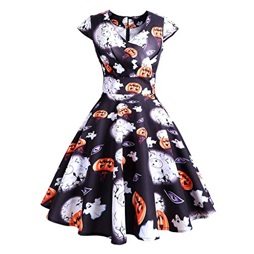 Lazzboy Damen V-Ausschnitt Vintage Kürbis Print Loose Hem Halloween Kleid Glücklich Festliche Karneval Stil Frauen Langarm Hohl Fledermaus Flare Party Cosplay Kleider(Schwarz,2XL) Black Empire Baby Doll