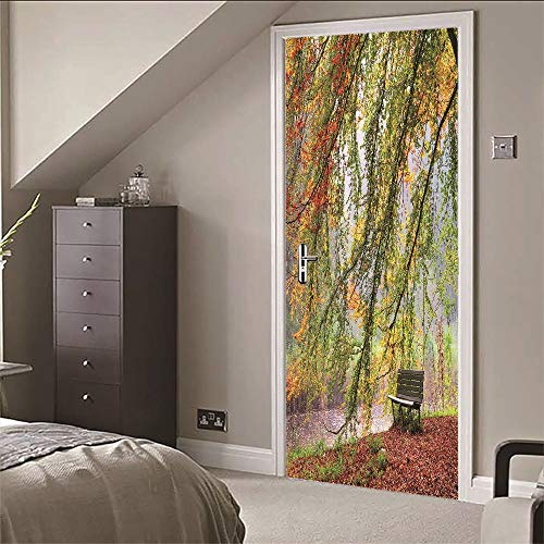 3D Tür Wandaufkleber Park Corner, PVC Selbstklebende Wasserdichte Tapete Abnehmbare Kunst Aufkleber Dekoration Wandbild 77X200cm -