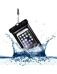 Power Theory Floating Waterproof Phone Case - 6 Inch IPX8 Certified Universal Dry Bag - Durable, Transparent Pouch for iPhone 6/6s plus, 5/5s, SE, Samsung Galaxy S7, Edge, S6, S5, Note 5, 4, HTC, Huawei & other Smartphones (Black)