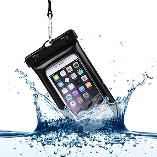 Power Theory Wasserfeste Handyhülle - Wasserdichte Handytasche Handyschutz Cover Beutel Beachbag Tasche Handy Hülle Waterproof Case - iPhone X 8 7 6s SE Samsung S9 S8 S7 Edge Handys bis 6 Zoll (Schwarz) Samsung-handy-beutel