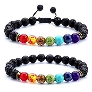 HCHIDS Men Women 8mm Lava Rock Chakra Beads Bracelet Braided Rope Stone Agate Bracelet Bangle Set(2 Pcs Set)