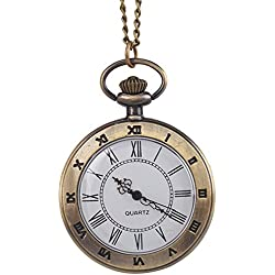Antique Engraved Roman Open Face Quartz Pocket Watches Chain Movement Necklace Pendant Charms