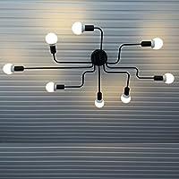 Xpork Vintage Ceiling Light Modern Retro Black Industrial Metal E27 Creative Pendant Lamp 8 Arms