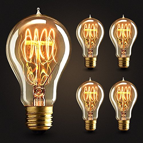4×Neverland E27 40W 50V-220V A19 Edison Lampe Filament Glühlampe Retro Licht Vintage Glühbirne Antik Beleuchtung Warmweiß -