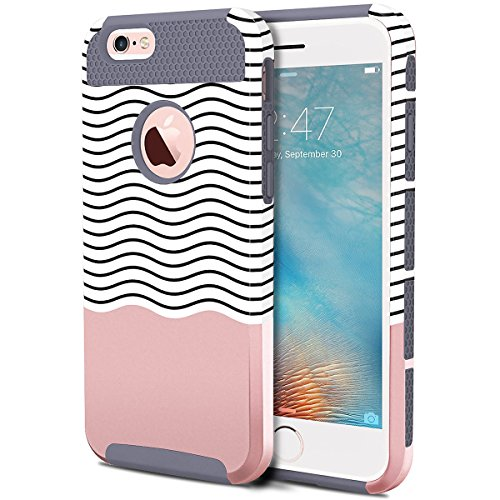 "iPhone 6 Plus funda, iPhone 6S Plus funda, BENTOBEN 2 Piezas Ultra delgada iphone 6 Plus Protector Cáscara Dura Flexible TPU Doble Capa Parachoques Forma Ondulada Protección para iPhone 6 6S Plus 5.5"", Gris"