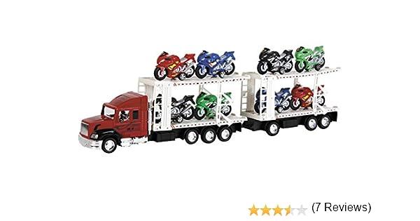MODELMOVIL Camion /à Friction Jaune avec 2 Remorques et 8 Motos