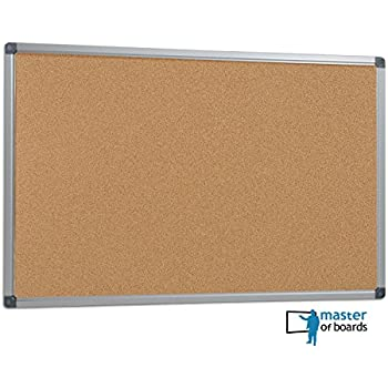 master of boards office cork notice board pin board with aluminium frame 90x60cm