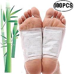 Fußpflaster, Kapmore 100pcs Foot Pads Vitalpflaster zum Körper Entgiften Bambuspflaster mit Turmalin Fußpflaster zum Entschlacken Pflaster Entgiftung (100PCS)