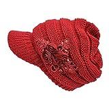 Kuyou Strickmütze mit Schild Winter Strickmütze Beanie Cap (Rot)